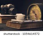 camera clock old book tablet... | Shutterstock . vector #1054614572