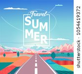 summer sunrise painting poster... | Shutterstock .eps vector #1054619372