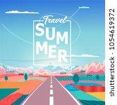summer sunrise painting poster... | Shutterstock .eps vector #1054619372