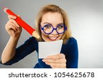 positive crazy woman blonde... | Shutterstock . vector #1054625678