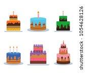 birthday cake vector. sweet... | Shutterstock .eps vector #1054628126