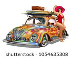 vintage car with pin up girl... | Shutterstock .eps vector #1054635308