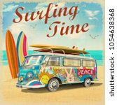 surfing time poster with retro... | Shutterstock .eps vector #1054638368