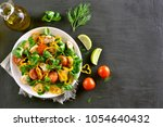 vegetable salad with chicken... | Shutterstock . vector #1054640432