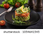 delicious avocado and salted...   Shutterstock . vector #1054641545