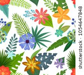 seamless pattern with tropical...   Shutterstock .eps vector #1054647848