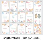 colorful greeting card with... | Shutterstock .eps vector #1054648838