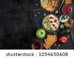 a healthy breakfast of cereals  ... | Shutterstock . vector #1054650608