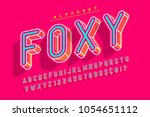 condensed display font popart... | Shutterstock .eps vector #1054651112