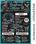 seafood restaurant menu. vector ... | Shutterstock .eps vector #1054653368