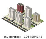 isometric cartoon building... | Shutterstock .eps vector #1054654148