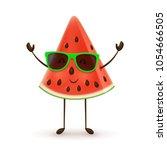 cute watermelon character.... | Shutterstock .eps vector #1054666505