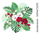 palm leaves and orchid flowers  ... | Shutterstock .eps vector #1054672292