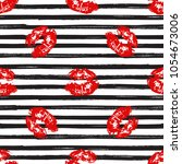kiss  lips seamless pattern... | Shutterstock . vector #1054673006