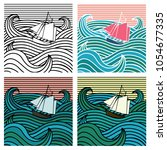 ship at sea .set of four... | Shutterstock .eps vector #1054677335