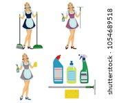girl maid cleaner.detergents.... | Shutterstock .eps vector #1054689518