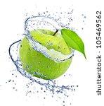 Green Apple With Water Splash ...