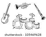 set of musical instruments in... | Shutterstock .eps vector #105469628
