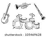 set of musical instruments in... | Shutterstock .eps vector #105469628