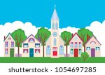 colorful facades of the houses... | Shutterstock .eps vector #1054697285