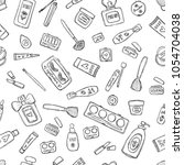 makeup products pattern.... | Shutterstock .eps vector #1054704038