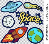 set of stickers with space... | Shutterstock .eps vector #1054704872