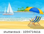 paradise beach of the sea with... | Shutterstock .eps vector #1054714616