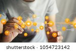 hand drawn icons connecting... | Shutterstock . vector #1054723142