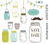 glass jars  frames and cute... | Shutterstock .eps vector #105472376