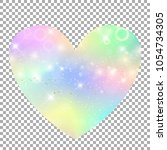 unicorn with rainbow mesh heart ... | Shutterstock .eps vector #1054734305