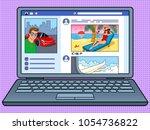 social network website on... | Shutterstock .eps vector #1054736822