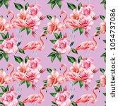pink flamingo birds rose... | Shutterstock .eps vector #1054737086