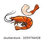 prawn or shrimp on white... | Shutterstock .eps vector #1054746428