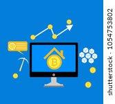 blockchain scheme  mining... | Shutterstock .eps vector #1054753802