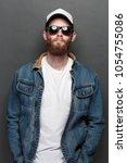 hipster handsome male model... | Shutterstock . vector #1054755086