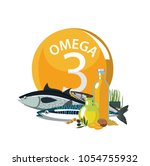 omega 3. polyunsaturated fatty... | Shutterstock .eps vector #1054755932