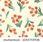 beautiful tulip flower vector... | Shutterstock .eps vector #1054755938