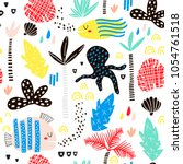 seamless childish pattern with... | Shutterstock .eps vector #1054761518