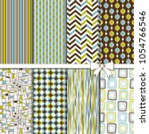 collection of retro seamless... | Shutterstock .eps vector #1054766546