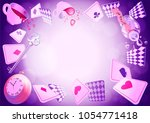 alice in wonderland. playing... | Shutterstock .eps vector #1054771418