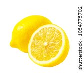 pair of ripe lemons isolated on ... | Shutterstock . vector #1054775702