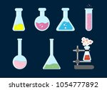 laboratory flask icon. vector... | Shutterstock .eps vector #1054777892