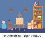 art studio interior colorful... | Shutterstock .eps vector #1054790672