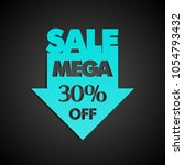 mega sale 30  off arrow banner... | Shutterstock . vector #1054793432