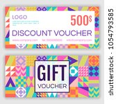 gift voucher template. vector... | Shutterstock .eps vector #1054793585