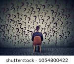 young business man sitting on a ... | Shutterstock . vector #1054800422