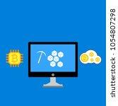 blockchain scheme  mining... | Shutterstock .eps vector #1054807298