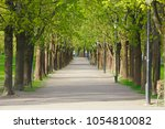 spring park with green trees | Shutterstock . vector #1054810082