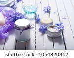 skin care product samples and...   Shutterstock . vector #1054820312