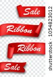 red ribbon banner  isolated on... | Shutterstock .eps vector #1054823012